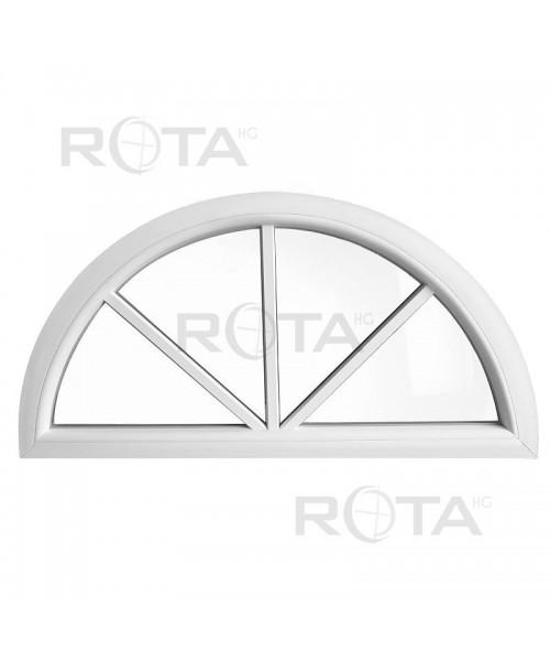 Fenêtre demi lune fixe PVC blanc avec croisillons rapportés