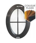 Fenêtre ovale à soufflet à petits carreaux PVC couleur bois (vertical)
