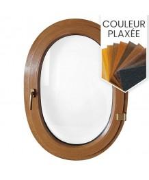 Fenêtre ovale à la française PVC couleur bois (vertical)