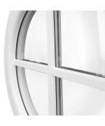 Fenêtre ronde fixe PVC blanc oeil de boeuf à petits carreaux rapportés