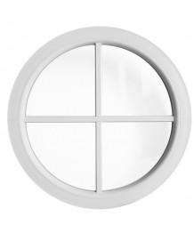 Fenêtre ronde fixe PVC blanc à petits carreaux rapportés