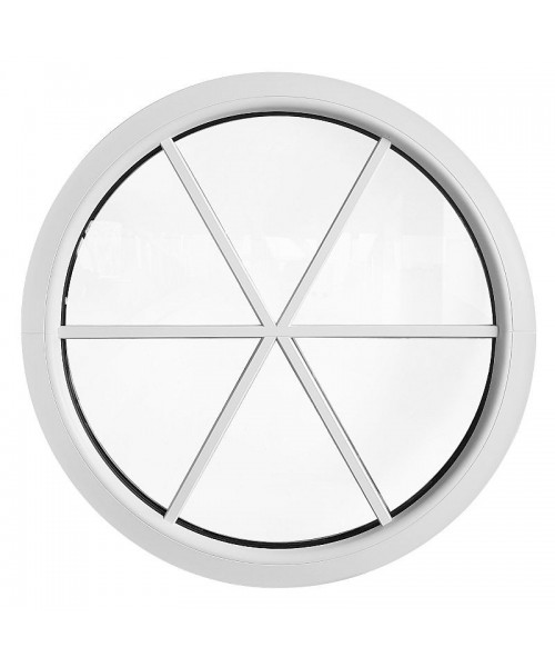Fenêtre ronde fixe blanc avec les croisillons incorporés motif étoile