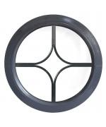 Fenêtre ronde fixe à petits carreaux PVC couleur bois au choix