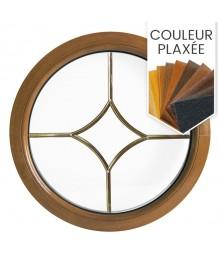 Fenêtre ronde fixe en couleur avec les croisillons motif losange