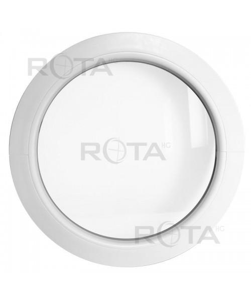 Fenêtre ronde fixe PVC blanc avec collerette d'habillage de 2cm
