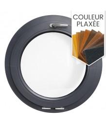 Fenêtre ronde à soufflet PVC en couleur avec collerette d'habillage de 2cm