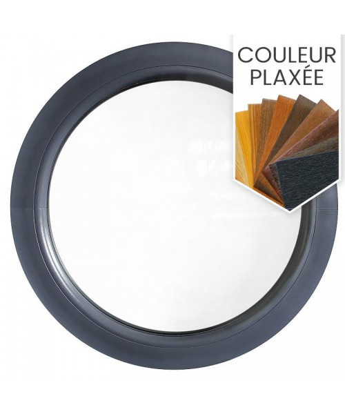 Fenêtre ronde fixe PVC en couleur avec collerette d'habillage de 2cm