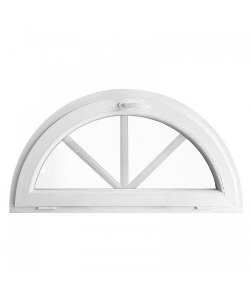 Fenêtre demi lune à soufflet PVC blanc avec croisillons incorporés