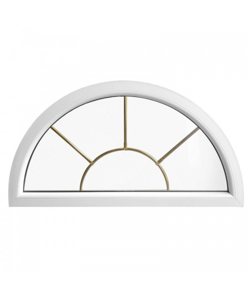 Fenêtre demi lune fixe PVC blanc avec croisillons incorporés motif soleil
