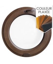 Fenêtre ronde à soufflet PVC en couleur bois avec Estetic 3D charnière