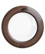 Fenêtre ronde à soufflet PVC en couleur bois avec Estetic3D charnier