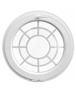Fenêtre ronde à soufflet PVC blanc croisillons incorporés motif toile
