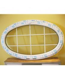 Fenêtre ovale à soufflet 1600x900 PVC à petits carreaux