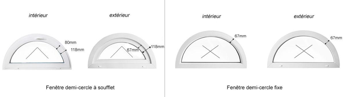 Fenêtre Demi Cercle Fixe Blanche 55 X 27 Cm L X H 550x275mm